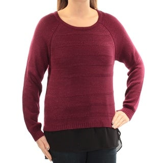 Womens Burgundy Color Block Long Sleeve Jewel Neck Sweater Size S