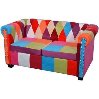 vidaXL Chesterfield Sofa 2-Seater Fabric