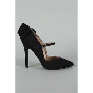 Qupid Potion-68 Back Bow Mary Jane Pointy Toe Pump