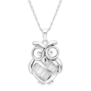 Owl Pendant with Swarovski Zirconia in Sterling Silver - White