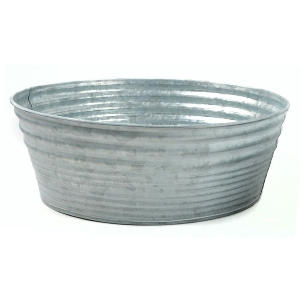 """10.5"""" Gray Decorative Round Galvanized Tin Container - N/A"""