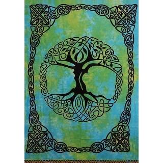 "Handmade Tie Dye Celtic Tree of life Cotton Tapestry Bedspread Beach Sheet Dorm Decor Twin 70"" x 104"" Green Blue"