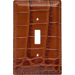 3D Western Switch Plate Gator Print Leather Single SP46