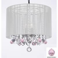 Crystal Chandelier With Large White Shade and Pink Crystal Balls - Clear