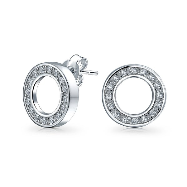 679b4067d Shop Bling Jewelry Pave Clear CZ April Birthstone Open Circle Stud earrings  925 Sterling Silver 11mm - Free Shipping On Orders Over $45 - Overstock -  ...