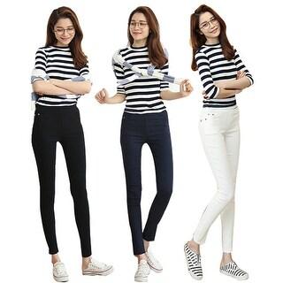 Women's Ankle-Length Plus Size Soft Elastic Trousers Slim Stretch Legging Pants