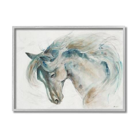Stupell Industries Minimalist Watercolor Horse Portrait Blue Beige Framed Wall Art