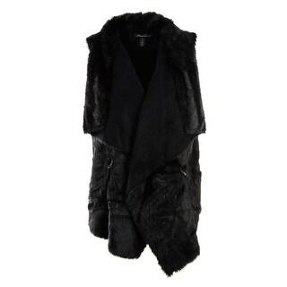 Kenneth Cole New York Womens Faux Suede Faux Fur Casual Vest - XL