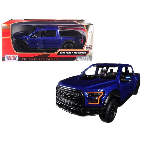 2017 Ford F 150 Raptor Pickup Truck Blue With Black Wheels 1 27 Diecast Model Car By Motormax
