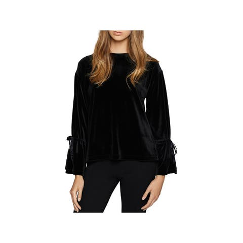 Sanctuary Womens Tierney Blouse Velour Bell Sleeves