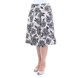 CHARTER CLUB $60 Womens New 1536 Cream Floral Pleated Wear To Work Skirt 12 B+B