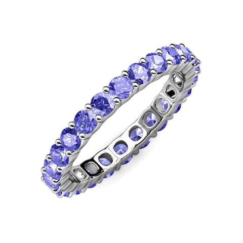 TriJewels Common Prong Tanzanite Women Eternity Ring 2.66 ctw 14K Gold