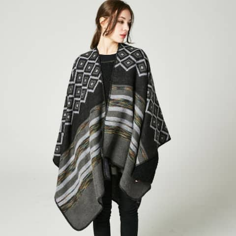 Big Diamond Shawl Female Double-Sided Wear Cloak