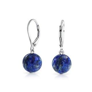 Bling Jewelry Sterling Silver Leverback Dyed Lapis Dangle Gemstone Drop Earrings