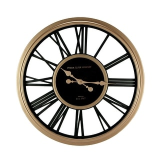 Black and Rose Gold Finish Metal Open Frame Round Wall Clock 20 Inch - 20 X 20 X 2 inches