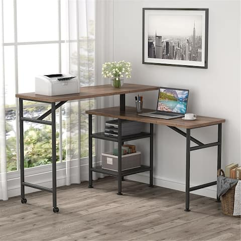 L Shaped Free Rotating Standing Desk Reversible Computer Desk