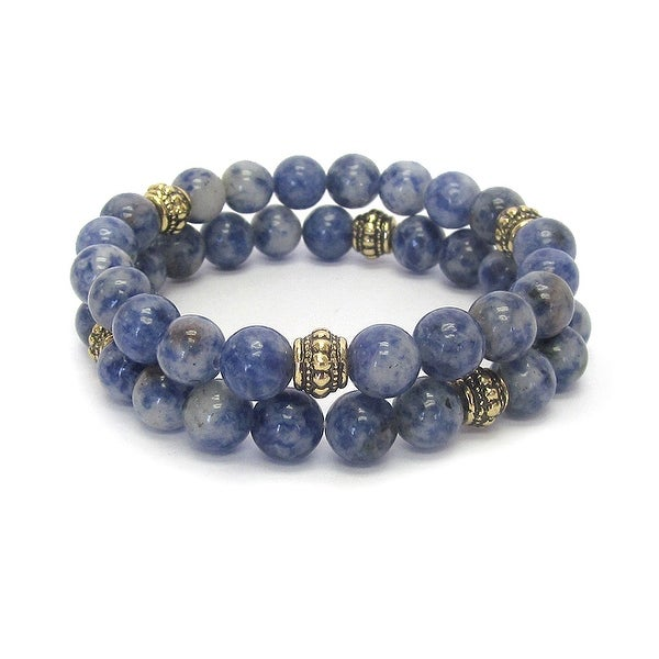 Multi Stone Ball Double Stretch Bracelet Set