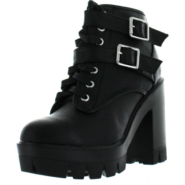 Bamboo Womens Jonas-07 Double Buckle Lace Up Chunky Heel Industrial Bootie