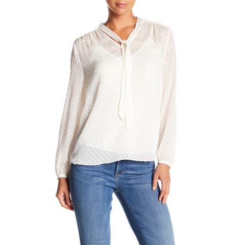 NYDJ Front Tie Long Sleeve Blouse, White, X-Large