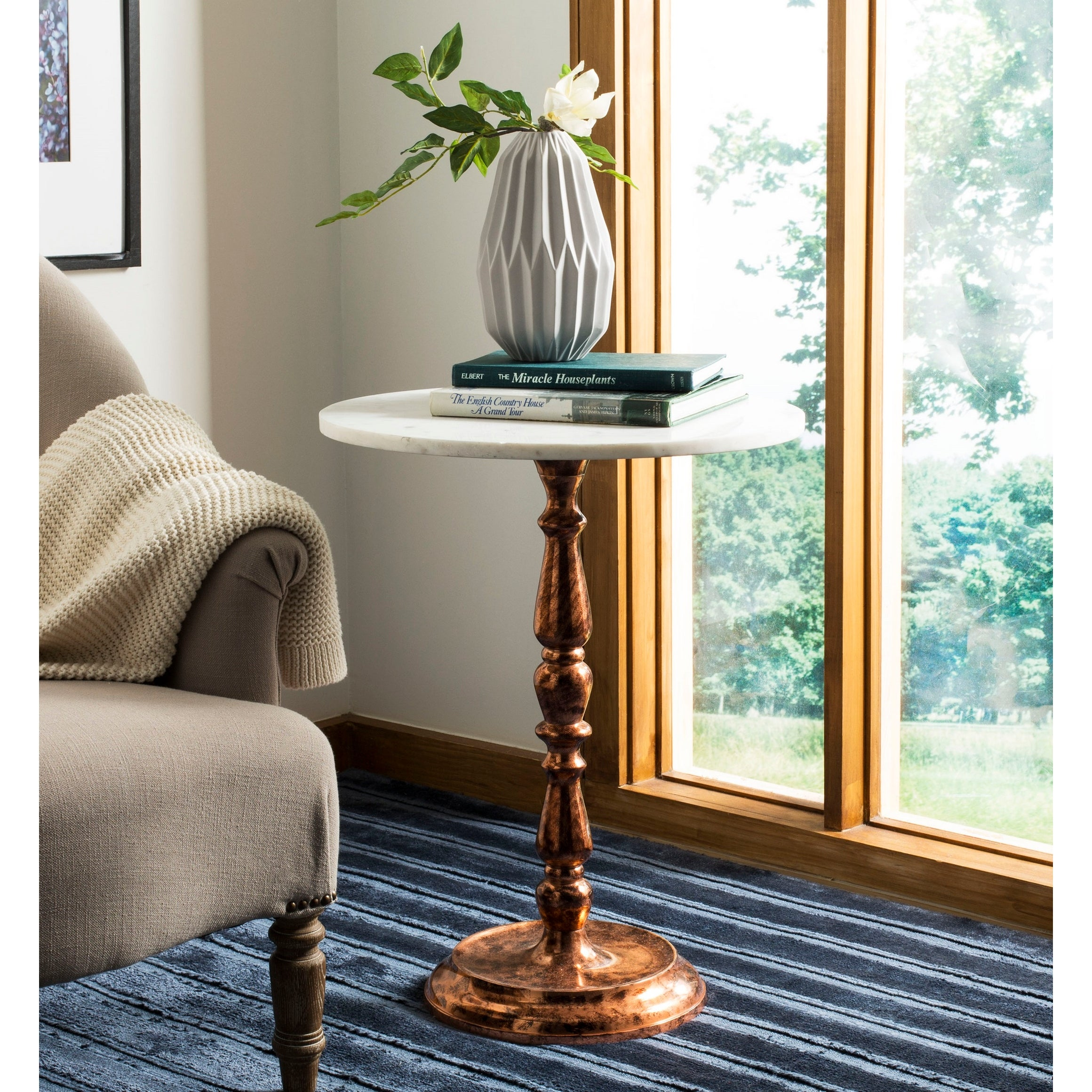 Safavieh Kiona Antique Copper White Marble Top Accent Table 20 X 20 X 24 Overstock 21185449