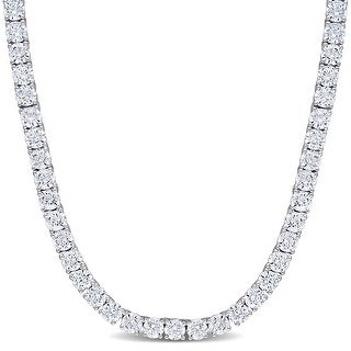 Link to Miadora Sterling Silver 46 1/3ct TGW Cubic Zirconia Tennis Necklace - 17 in x 4.3 mm Similar Items in Necklaces