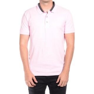 Versace Men Medusa Logo Solid Cotton Colar Trim Polo Shirt Pink