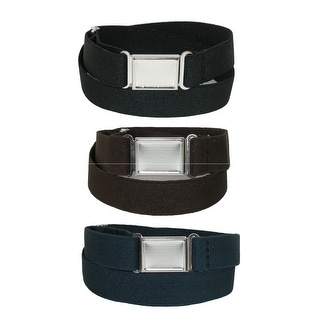 CTM® Kids' Elastic Stretch Belt with Magnetic Buckle (Pack of 3 Colors) - One Size