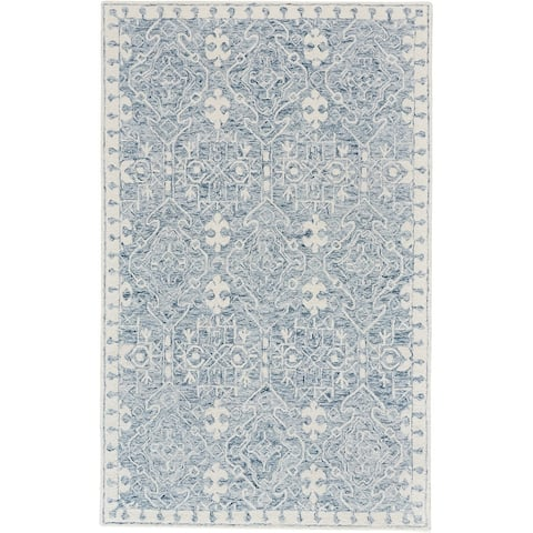 Veran Blue/Ivory 5' x 8' Hand- Tufted Transitional Rug