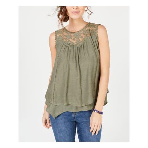 STYLE & COMPANY Womens Green Sleeveless Jewel Neck Top Size XL