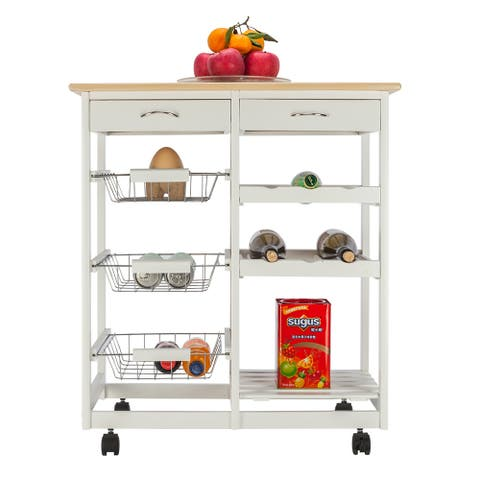 Moveable Kitchen Cart with Two Drawers & Three Baskets