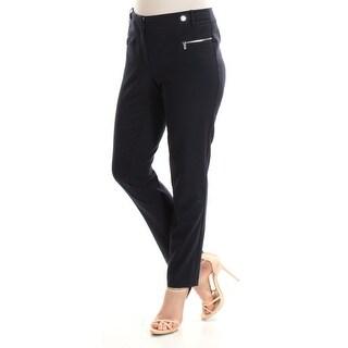CALVIN KLEIN $79 Womens New 1192 Navy Flat Front Straight leg Pants L B+B