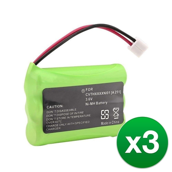 Replacement For VTech BT6822 Cordless Phone Battery (600mAh, 3.6V, NiMH) - 3 Pack