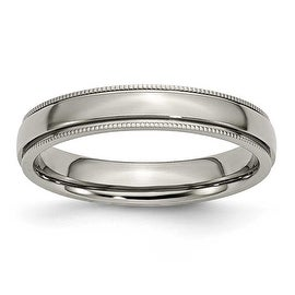 Chisel Grooved and Beaded Polished Titanium Ring (4.0 mm)