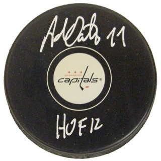 Adam Oates Signed Washington Capitals Logo Hockey Puck w/HOF 12