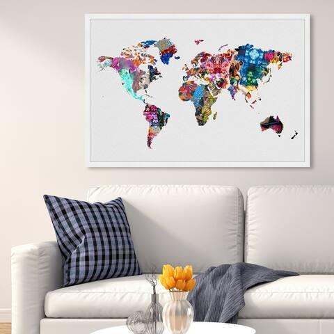 Oliver Gal 'Mapamundi' Maps and Flags Wall Art Framed Print World Maps - White, Blue
