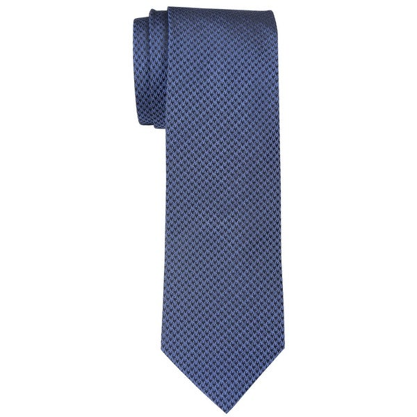 0d8cb2742d1 Shop Yves Saint Laurent Houndstooth Classic Silk Tie Dark Blue Size 8 -  Free Shipping Today - Overstock - 14357819