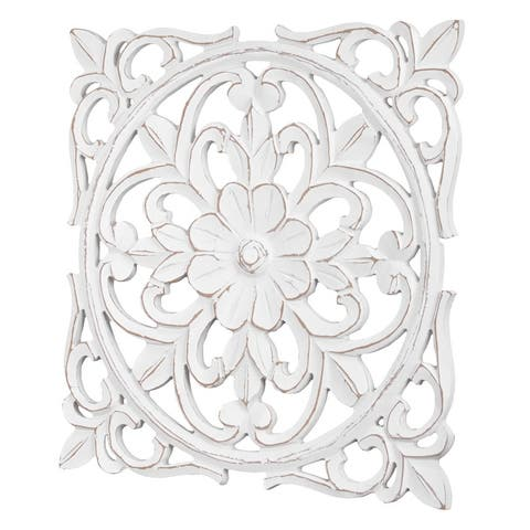 "American Art Decor Floral and Cross Wall Medallion - White (16"") - 16x16"