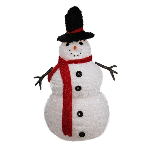 4' Lighted 3-D Chenille Winter Snowman with Top Hat Outdoor Christmas Decoration - WHITE