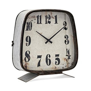 """14.75"""" Rustic Brown and Silver Color Galvanized Antique Style Clock"""