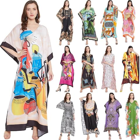 Womens Plus Size Maxi Dress Printed Kaftan Long Dresses Polyester Caftan Cover Ups Sundress