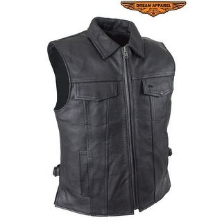 Mens Motorcycle Club Leather Vest With Fold Collar Hidden Snaps Size M