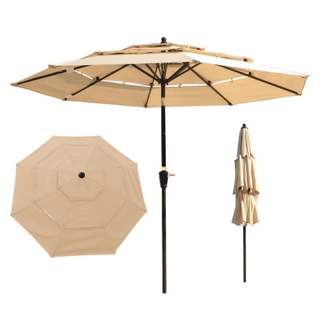 9Ft 3-Tiers Outdoor Patio Umbrella with Crank and tilt and Wind Vents