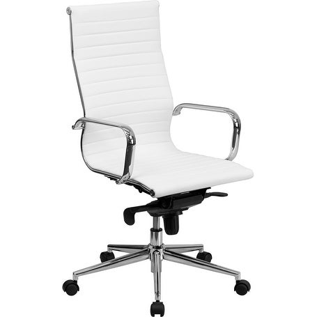 Silkeborg High Back White Ribbed Leather Stylish Executive Swivel Chair w/Knee-Tilt Control & Arms