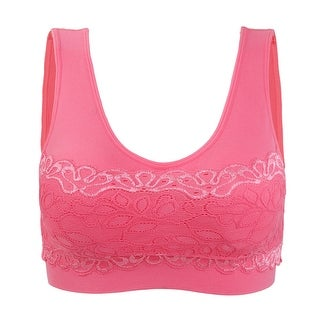Women Lace Decor Comfort Medium Impact Cleavage Wirefree Tank Top Bra