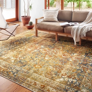 Link to Alexander Home Luciano Lagoon Distressed Oriental Indoor/ Outdoor Rug Similar Items in Transitional Rugs