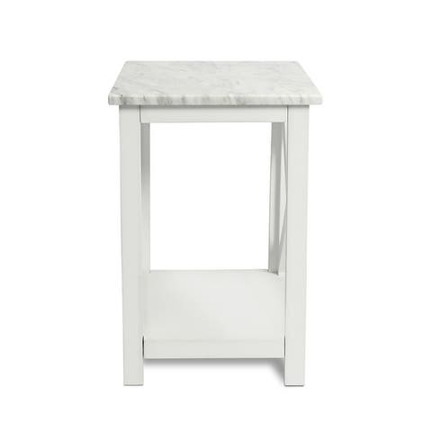 """Agatha 15"""" Square Italian Carrara White Marble Side Table with solid wood Legs - 15.7""""*15.7"""""""