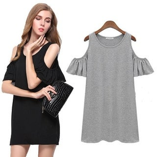 Black Grey Summer Dress Solid Loose Women Dresses O-neck Ladies Beach Dress Casual Mini Vestido