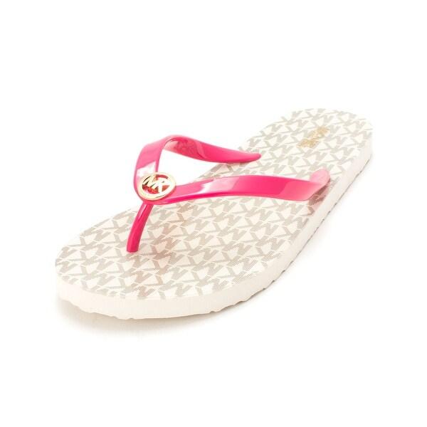 Michael Kors Womens MK Flip Flop Shiny Open Toe Beach