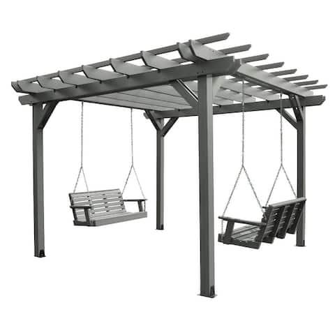 Highwood Bodhi Pergola (12 x 12) with 2 Weatherly 4ft Swings