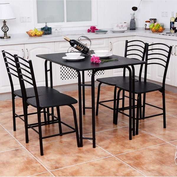 Costway 5 PCS Black Dining Set Table 4 Chairs Steel Frame Home Kitchen  Furniture